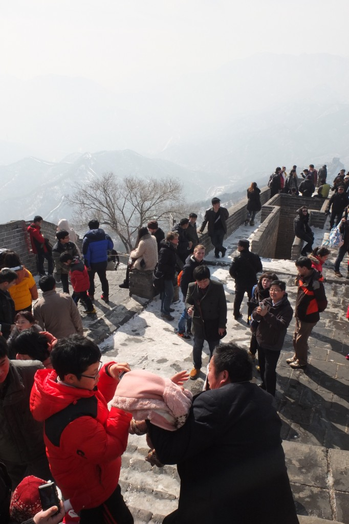 Crowded Great Wall near Beijing