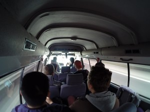 Hostel tour from Chengdu to Leshan in our bus